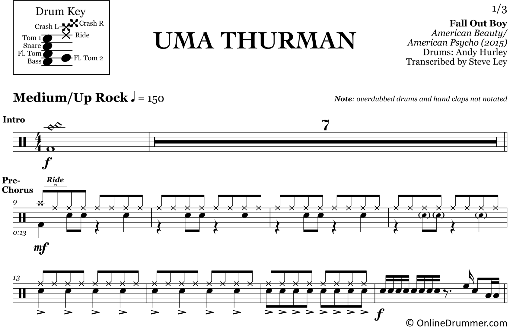 Uma Thurman - Fall Out Boy - Drum Sheet Music