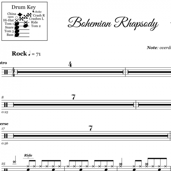 Bohemian Rhapsody - Queen - Drum Sheet Music