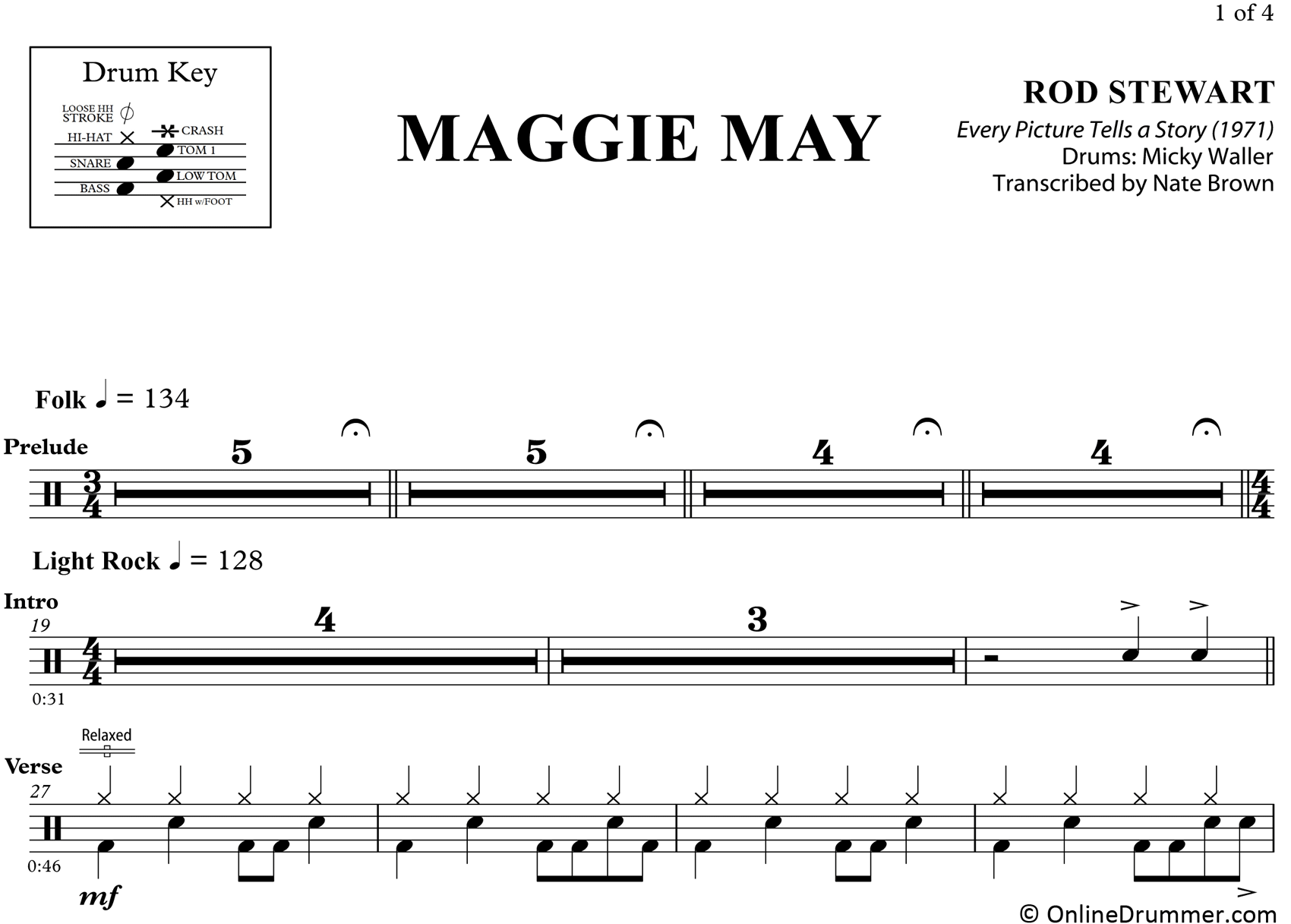 Maggie May - Rod Stewart - Drum Sheet Music