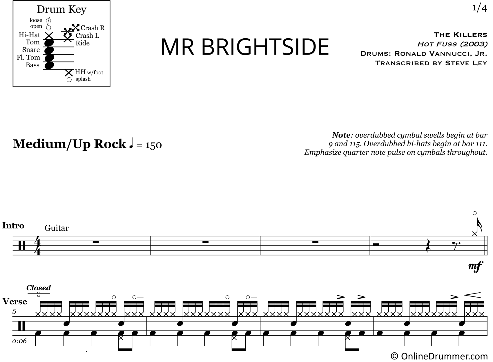 Mr. Brightside - The Killers - Drum Sheet Music