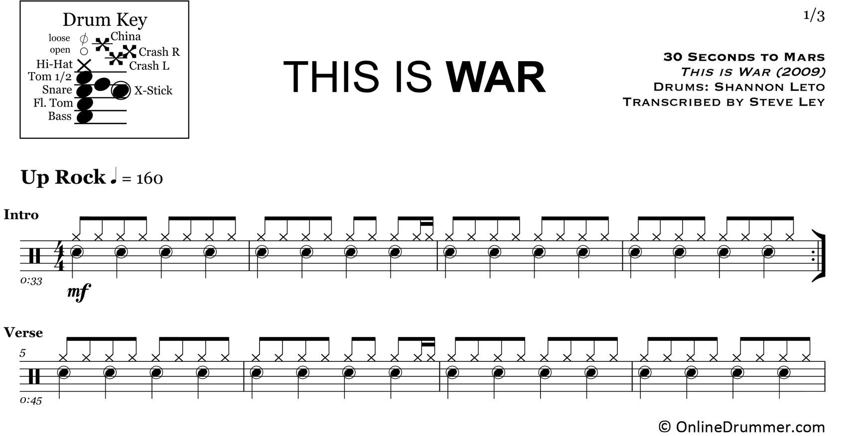 This Is War - 30 Seconds to Mars - Drum Sheet Music