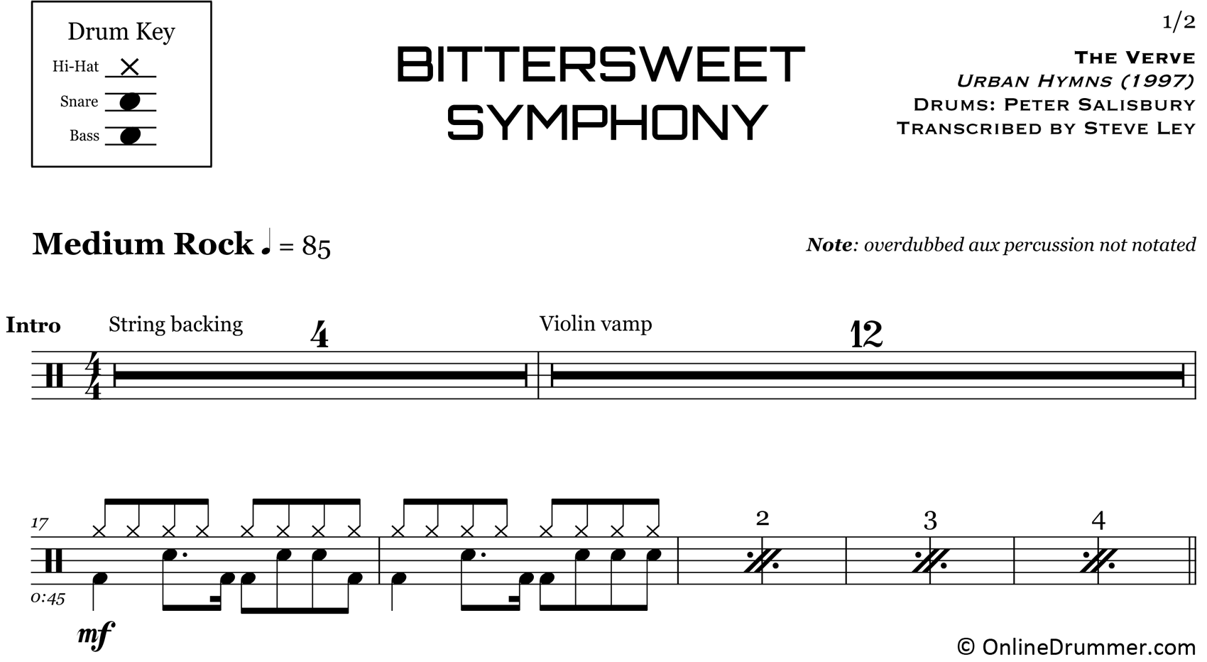 Bitter Sweet Symphony - The Verve - Drum Sheet Music