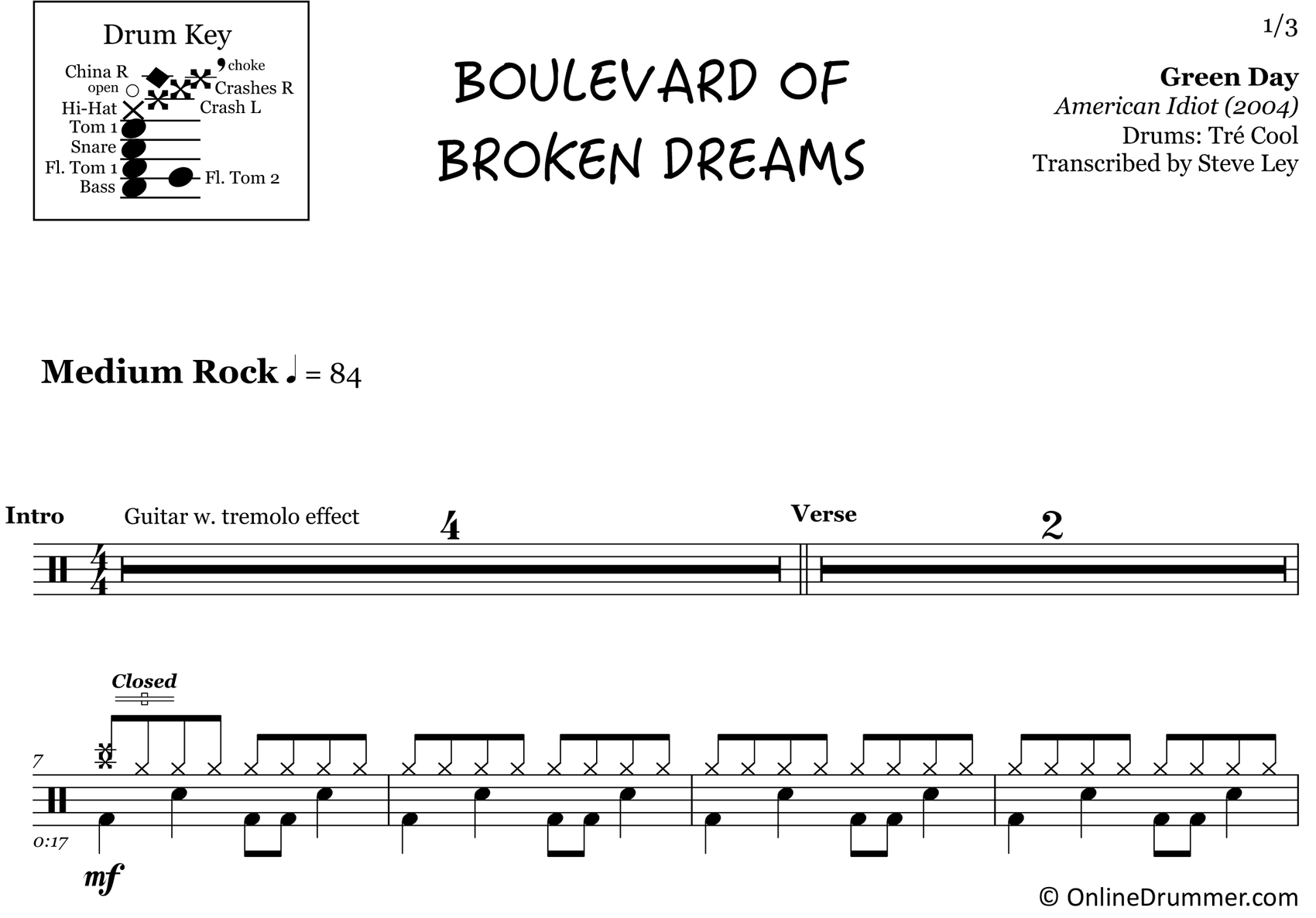 Boulevard of Broken Dreams - Green Day - Drum Sheet Music