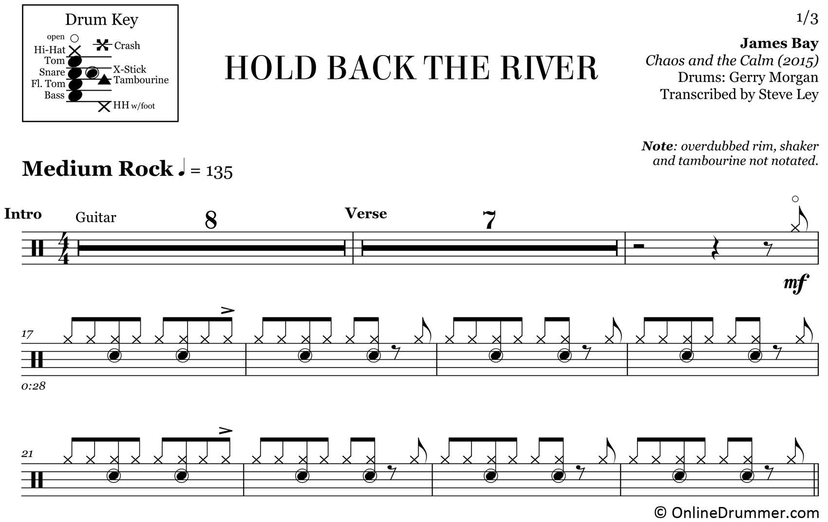 Hold Back The River - James Bay - Drum Sheet Music