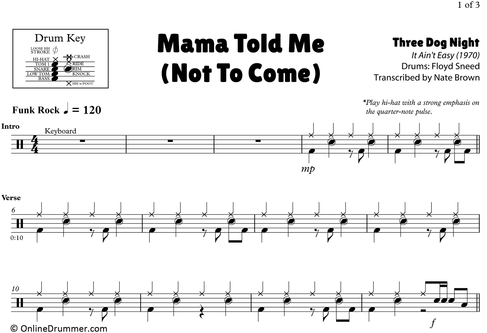 Mama Told Me (Not To Come) - Three Dog Night - Drum Sheet Music