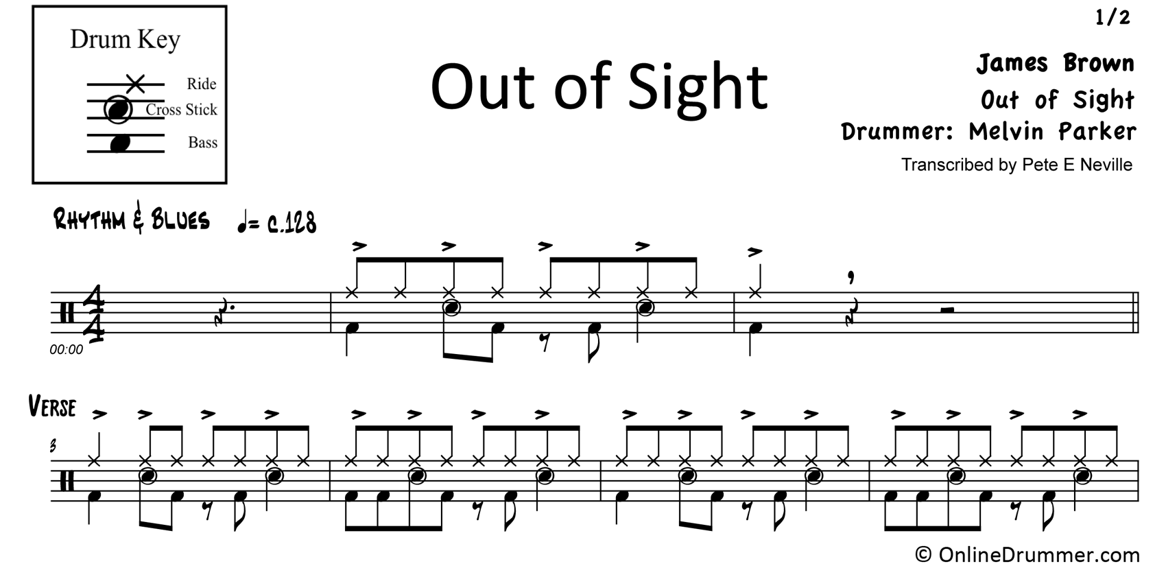 Out of Sight - James Brown - Drum Sheet Music