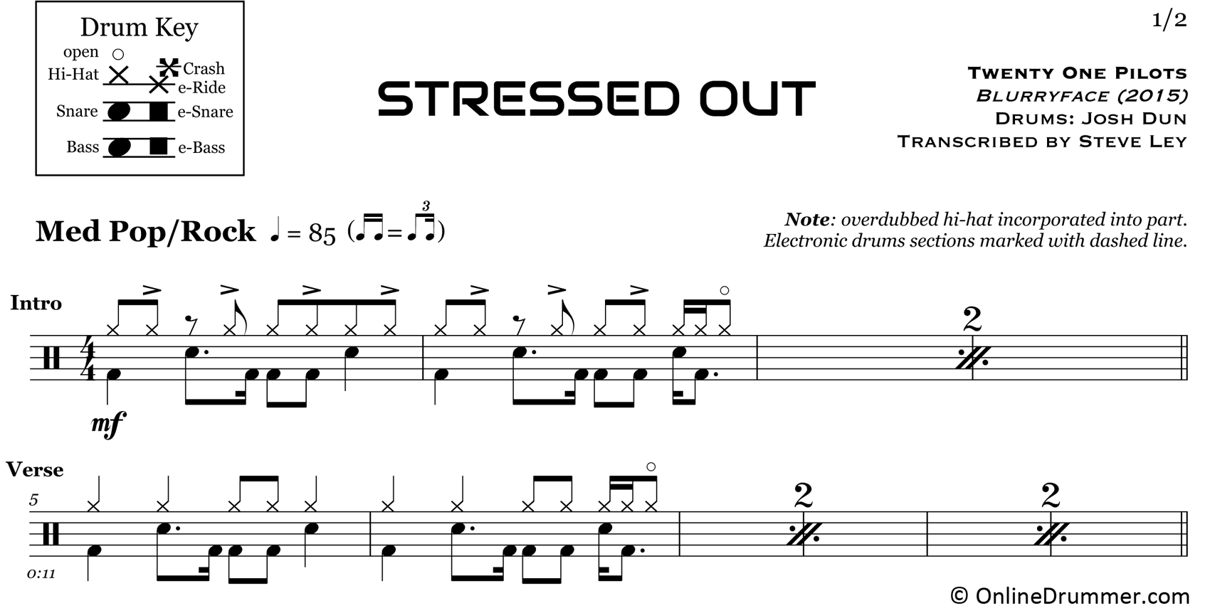 Stressed Out - Twenty One Pilots - Drum Sheet Music