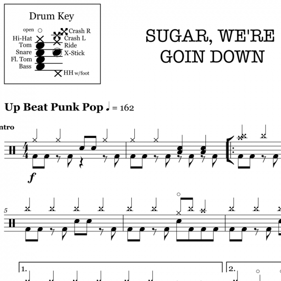 Sugar, We're Goin Down - Fall Out Boy - Drum Sheet Music