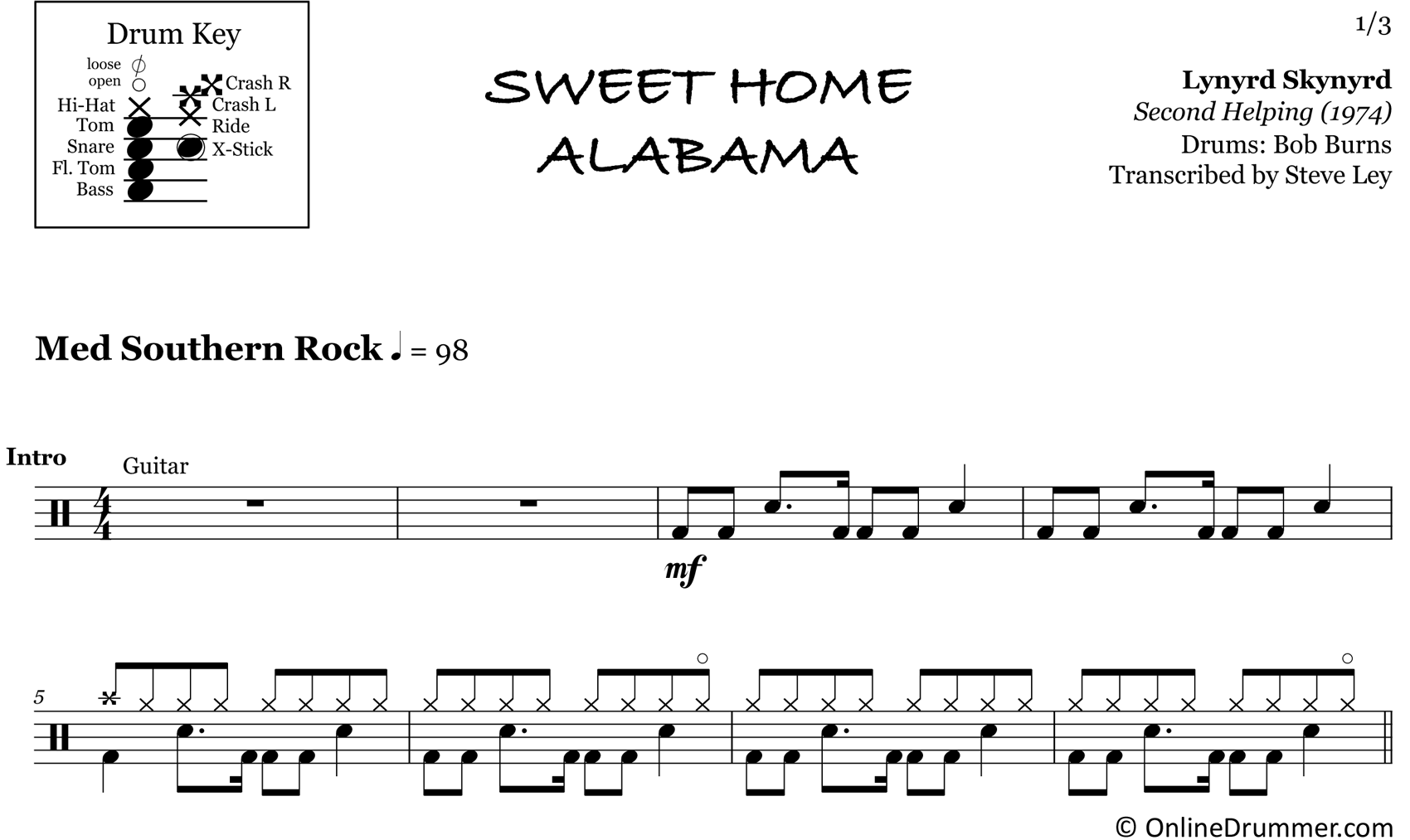 Sweet Home Alabama - Lynyrd Skynyrd - Drum Sheet Music