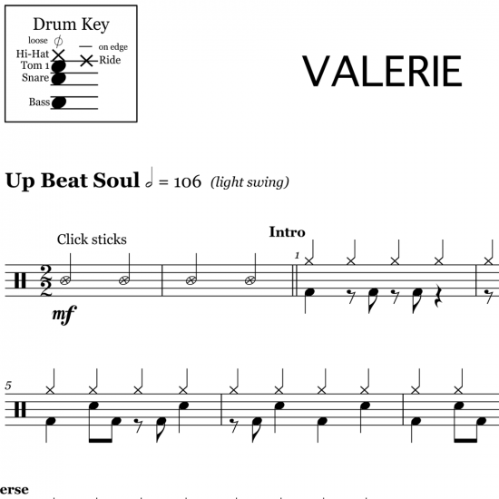 Valerie - Mark Ronson feat. Amy Winehouse - Drum Sheet Music