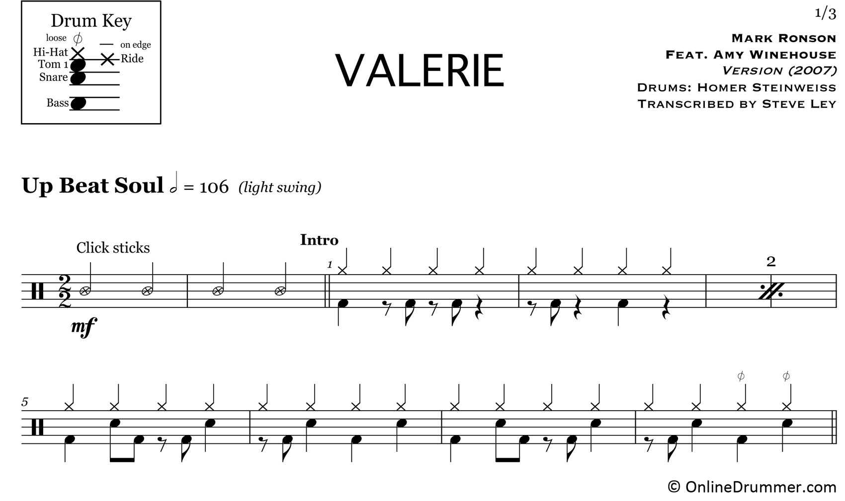 Valerie - Mark Ronson featuring Amy Winehouse - Drum Sheet Music