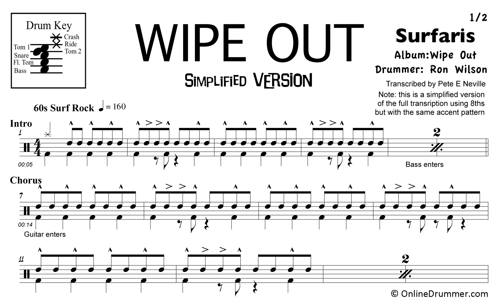 Wipe Out - Drums - Simplified