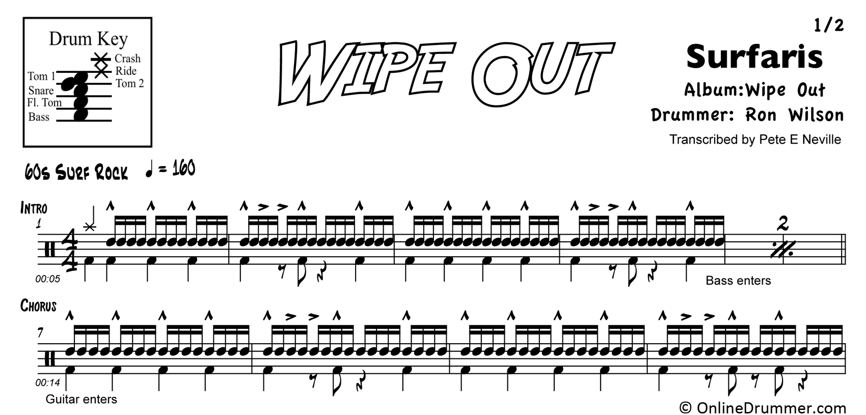 Wipe Out - The Surfaris - Drum Sheet Music