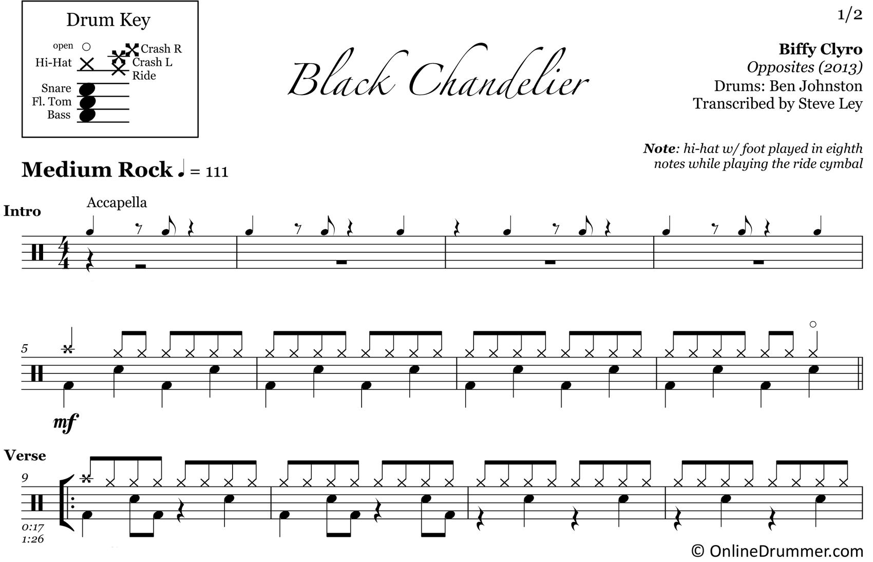 Black Chandelier - Biffy Clyro - Drum Sheet Music