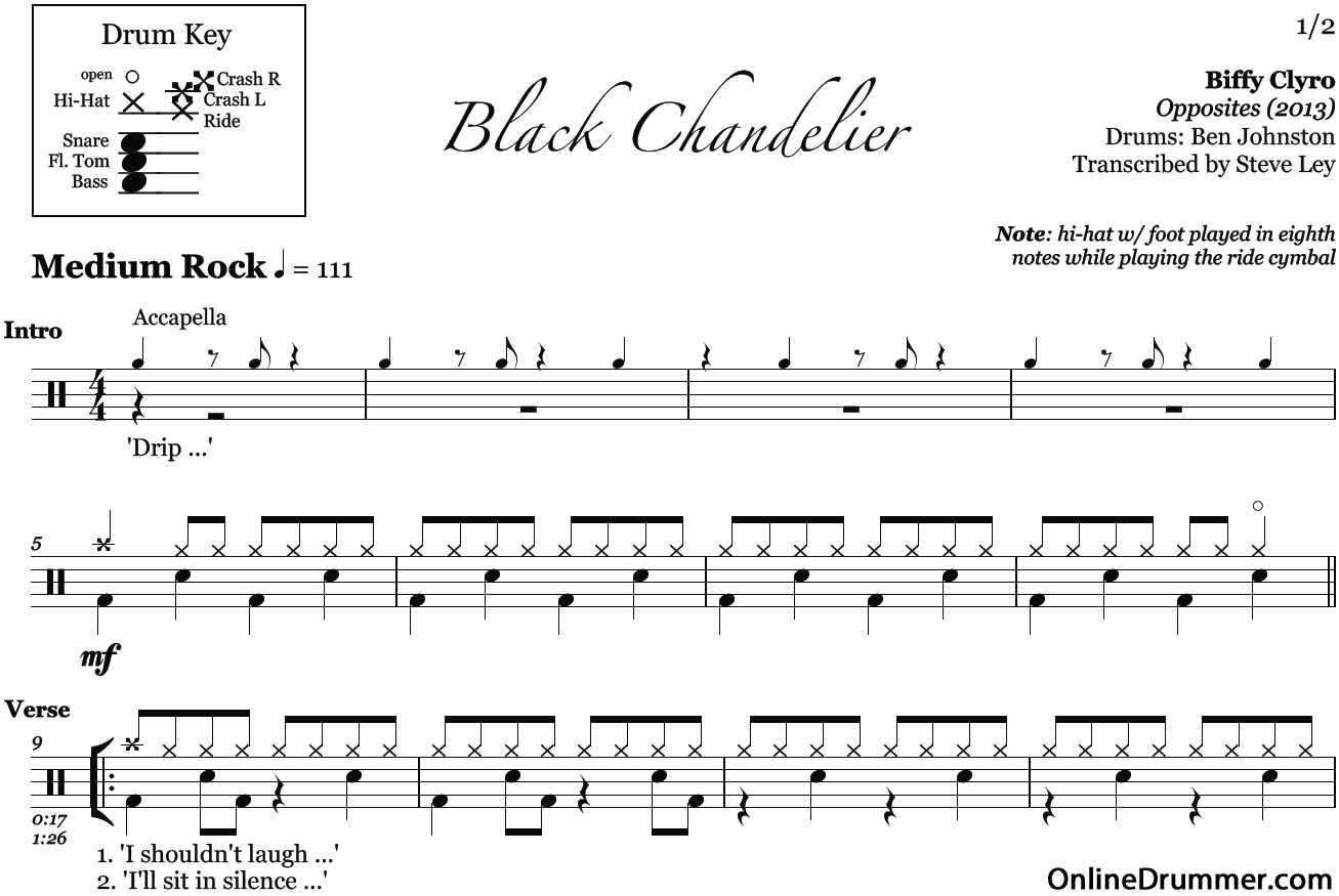 Black chandelier biffy clyro drum sheet music onlinedrummer description sample mozeypictures Images