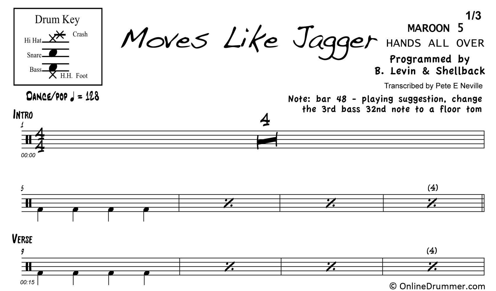 Moves Like Jagger - Maroon 5 - Drum Sheet Music