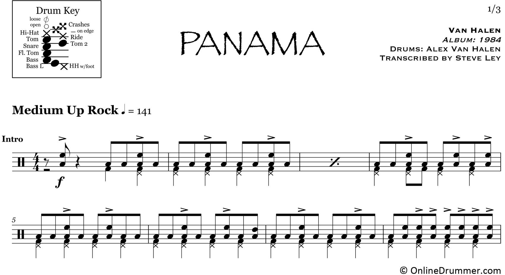 Panama - Van Halen - Drum Sheet Music