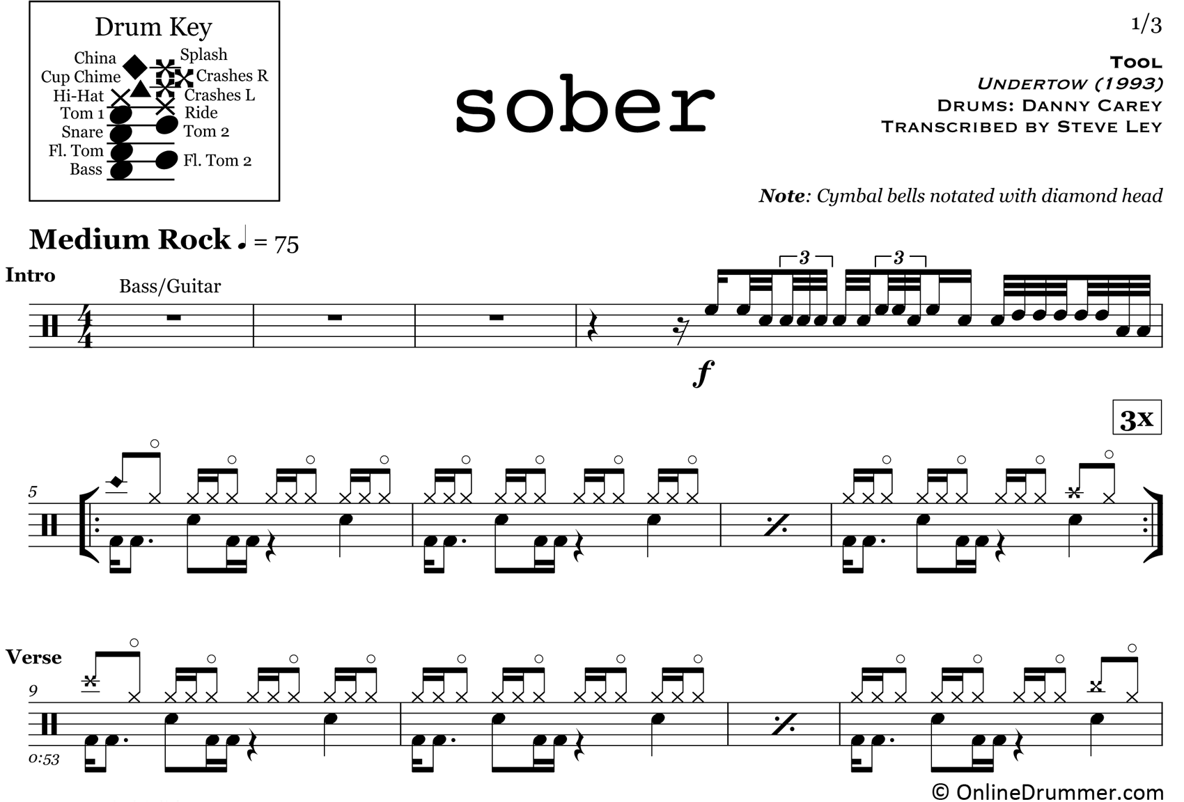 Sober - Tool - Drum Sheet Music