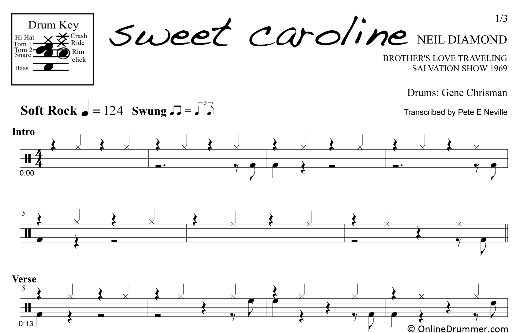 Sweet Caroline - Neil Diamond - Drum Sheet Music