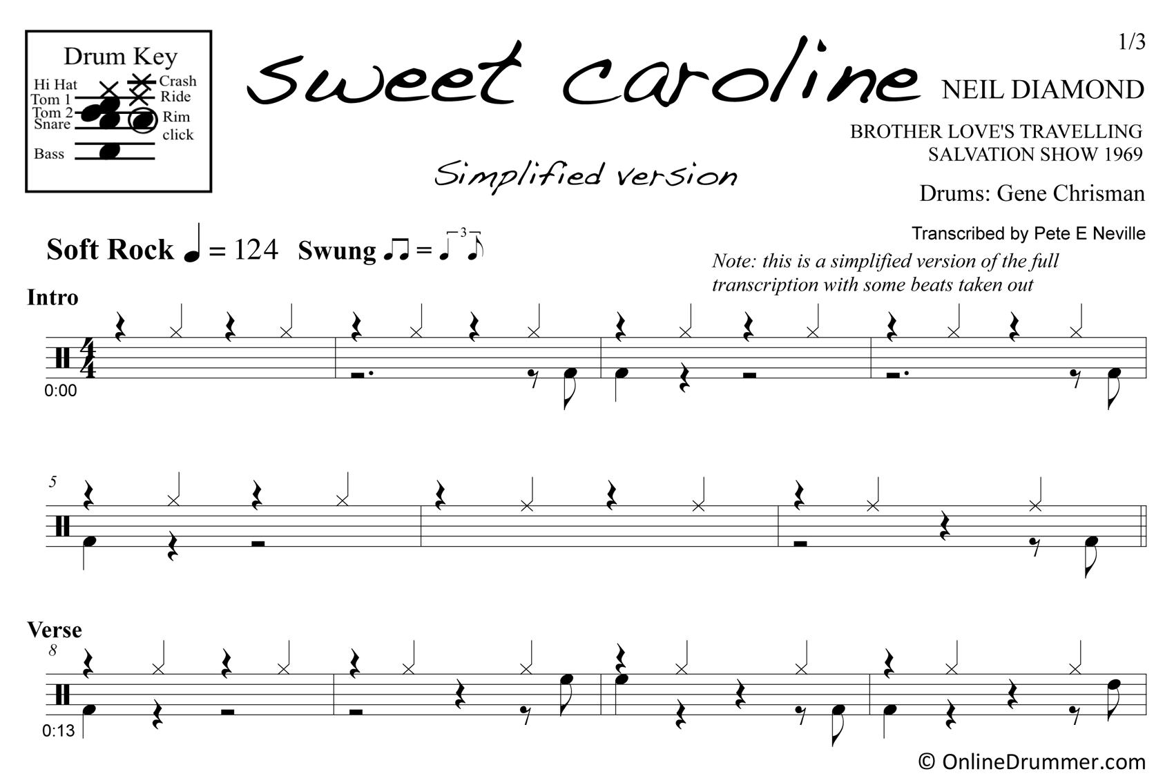 Sweet Caroline - Simplified Version - Drum Sheet Music