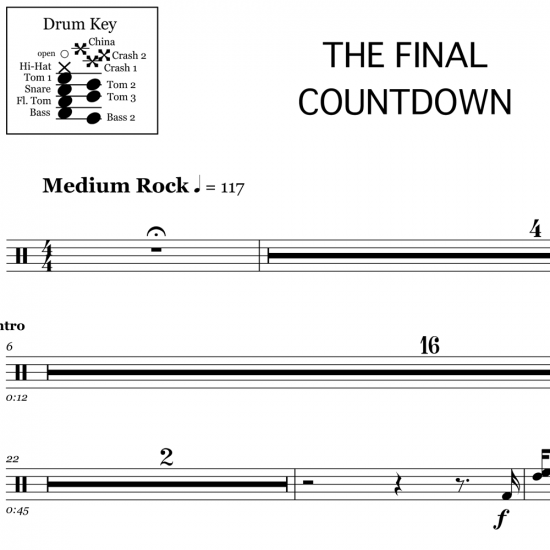 The Final Countdown - Europe - Drum Sheet Music