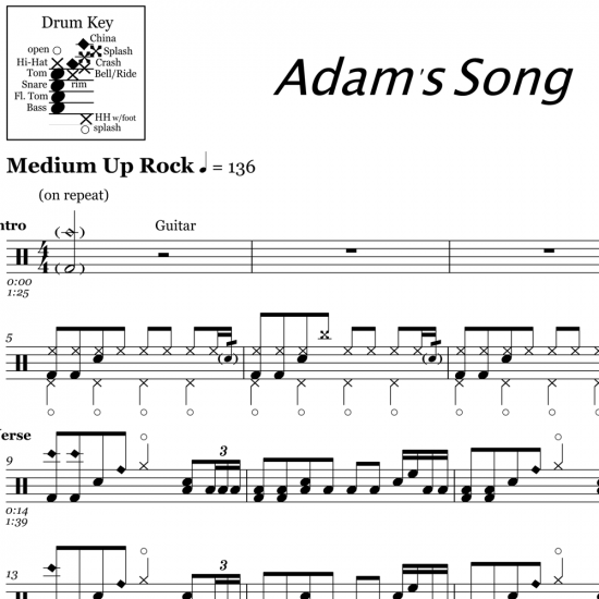 Adam's Song - Blink 182 - Drum Sheet Music