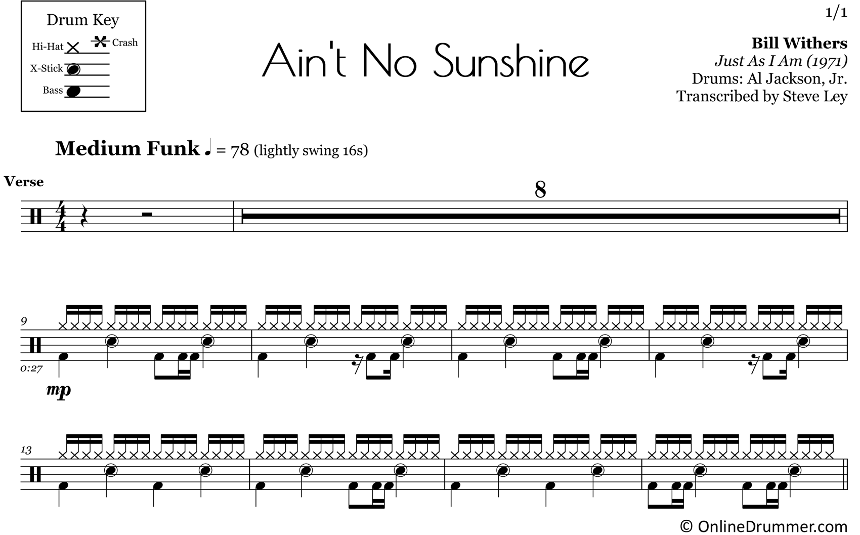 Ain't No Sunshine - Bill Withers - Drum Sheet Music