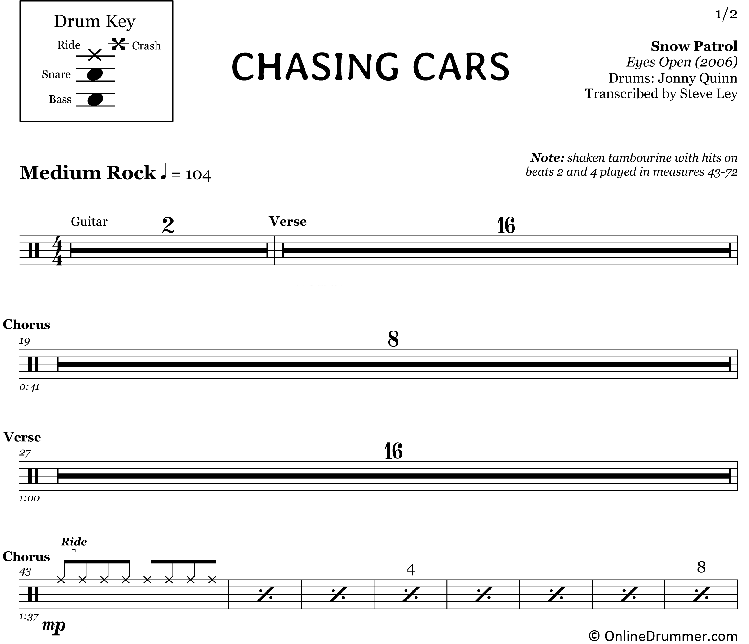 Chasing Cars - Snow Patrol - Drum Sheet Music