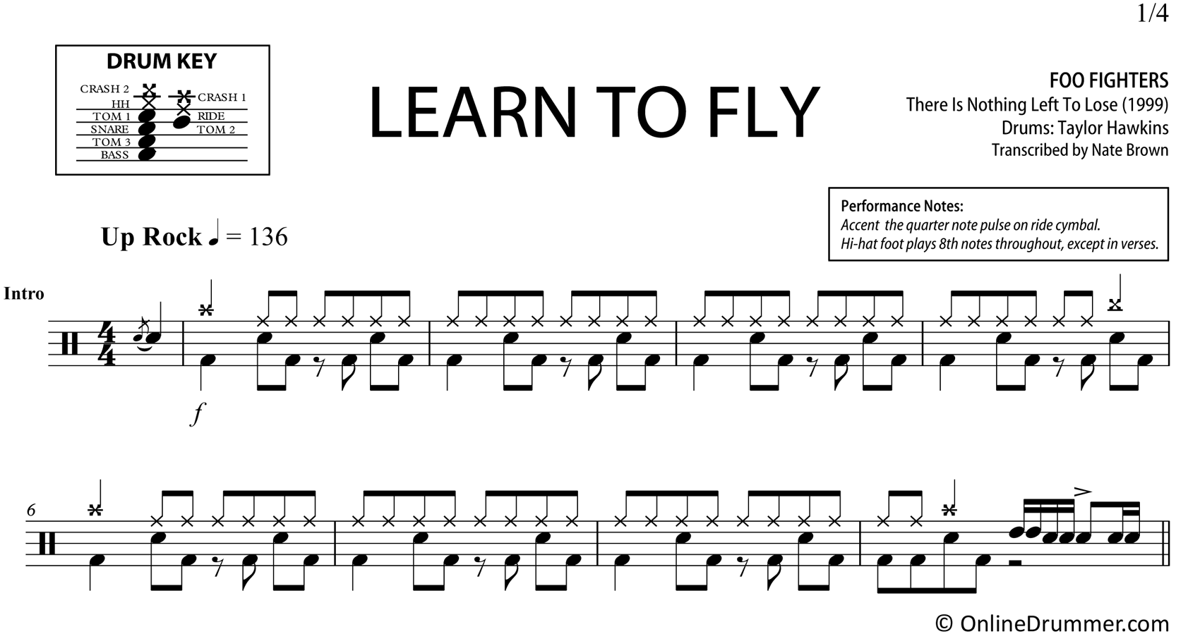 Learn to Fly - Foo Fighters - Drum Sheet Music