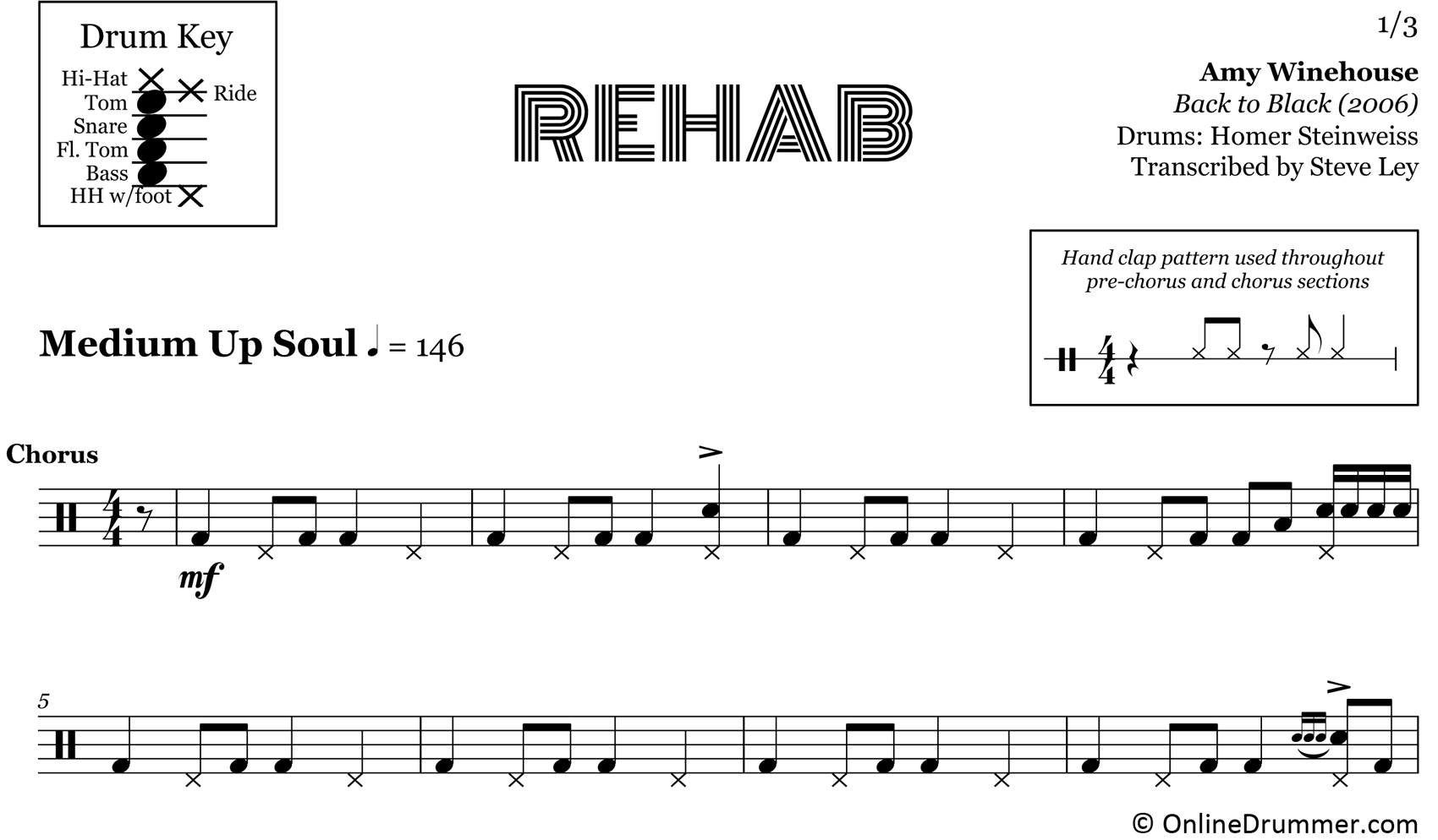 Rehab - Amy Winehouse - Drum Sheet Music