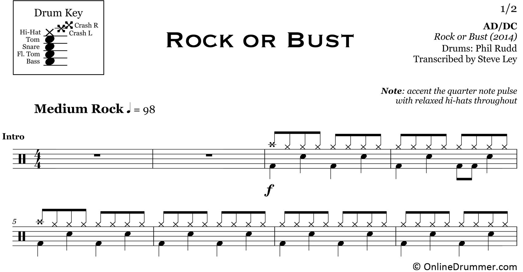 Rock or Bust - ACDC - Drum Sheet Music