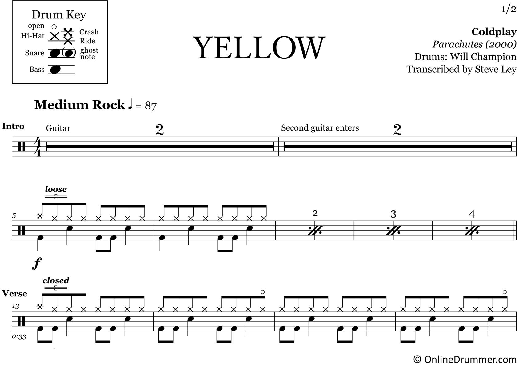 Yellow - Coldplay - Drum Sheet Music