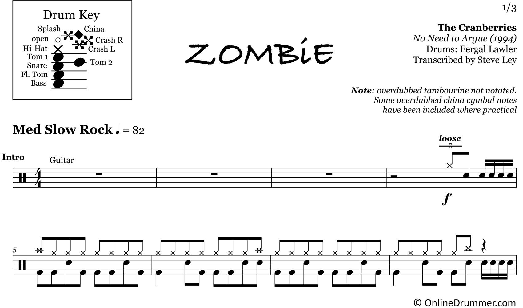 Zombie - The Cranberries - Drum Sheet Music