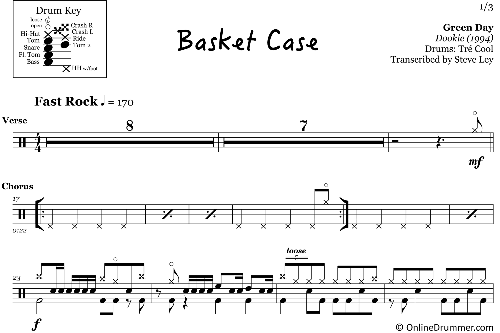 Basket Case - Green Day - Drum Sheet Music