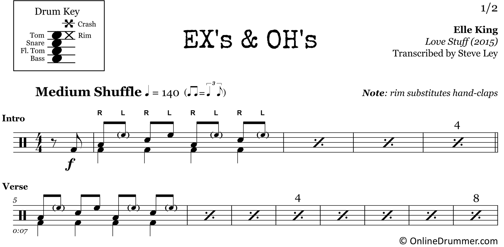 Ex's & Oh's - Elle King - Drum Sheet Music