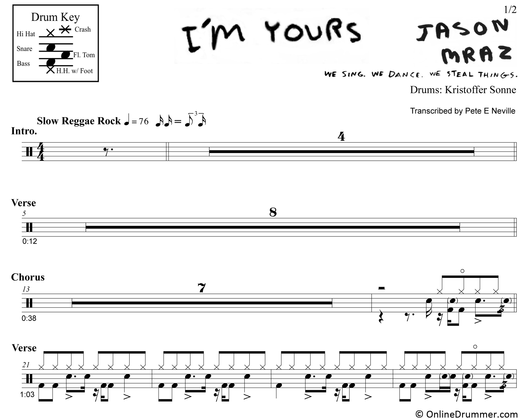 I'm Yours - Jason Mraz - Drum Sheet Music