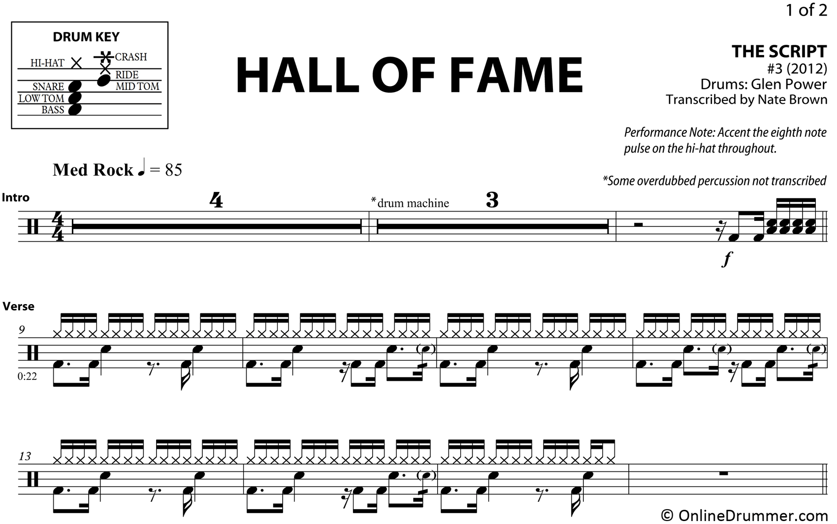 Hall of Fame - The Script - Drum Sheet Music