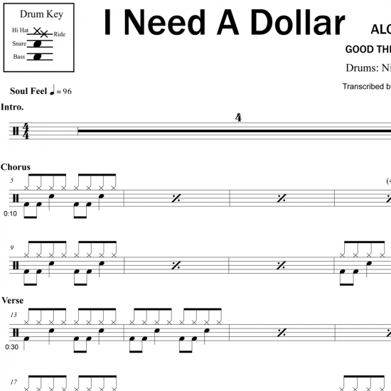 I Need a Dollar - Aloe Blacc - Drum Sheet Music