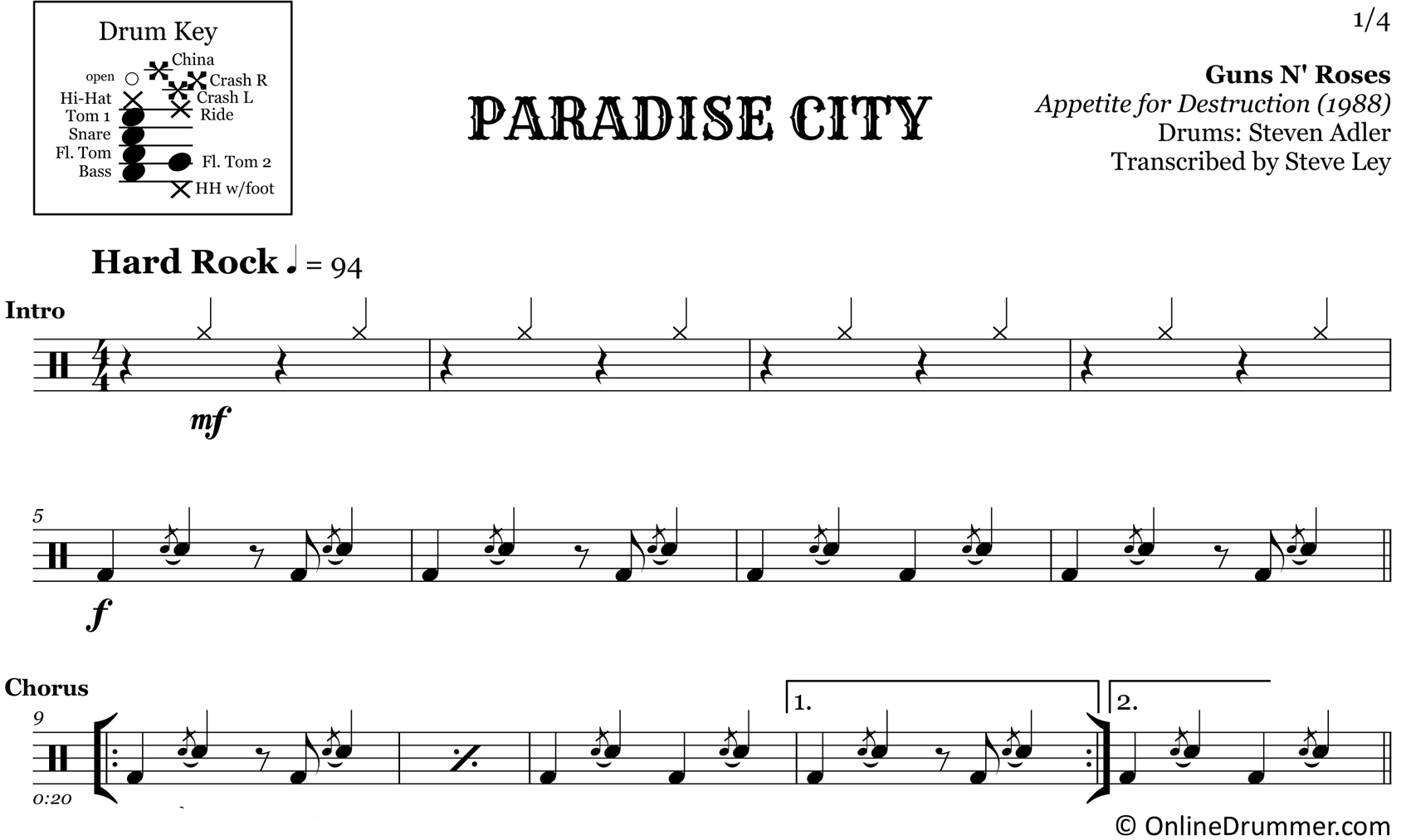 Paradise City - Guns N Roses - Drum Sheet Music
