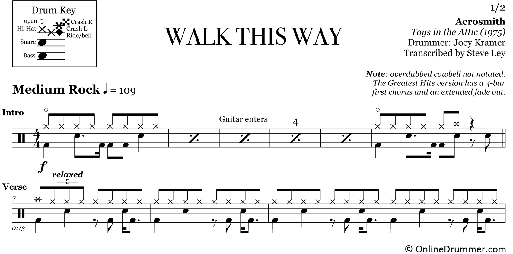 Walk This Way - Aerosmith - Drum Sheet Music