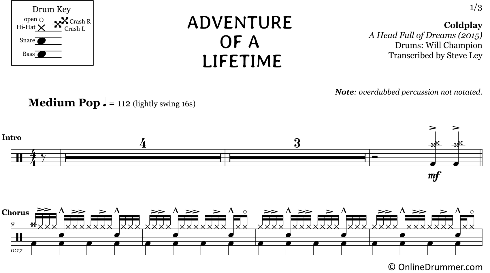 Adventure of a Lifetime - Coldplay - Drum Sheet Music