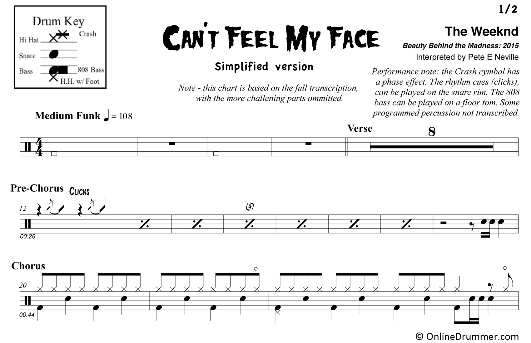 Can't Feel My Face - Drums - Simplified