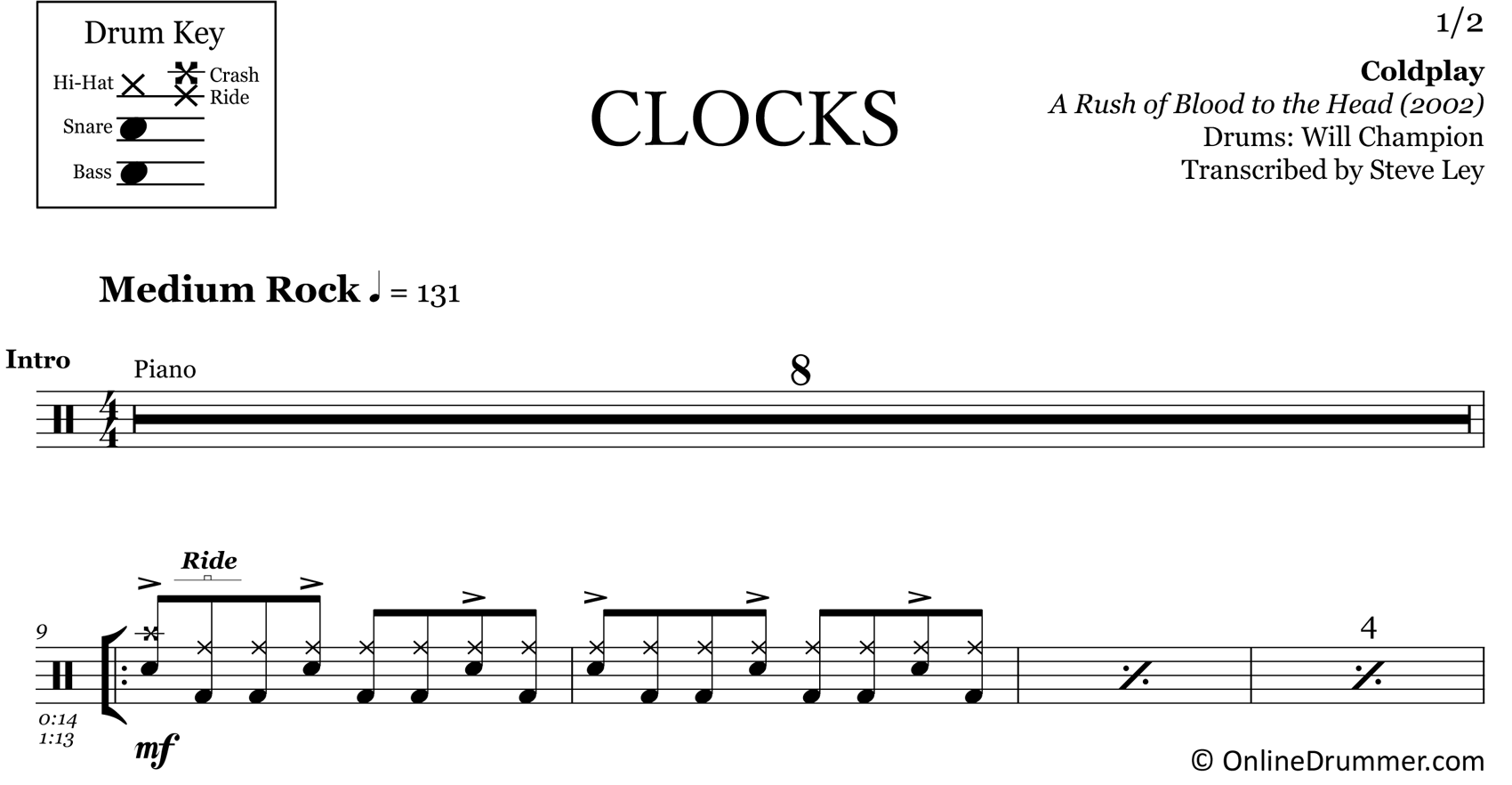 Clocks - Coldplay - Drum Sheet Music