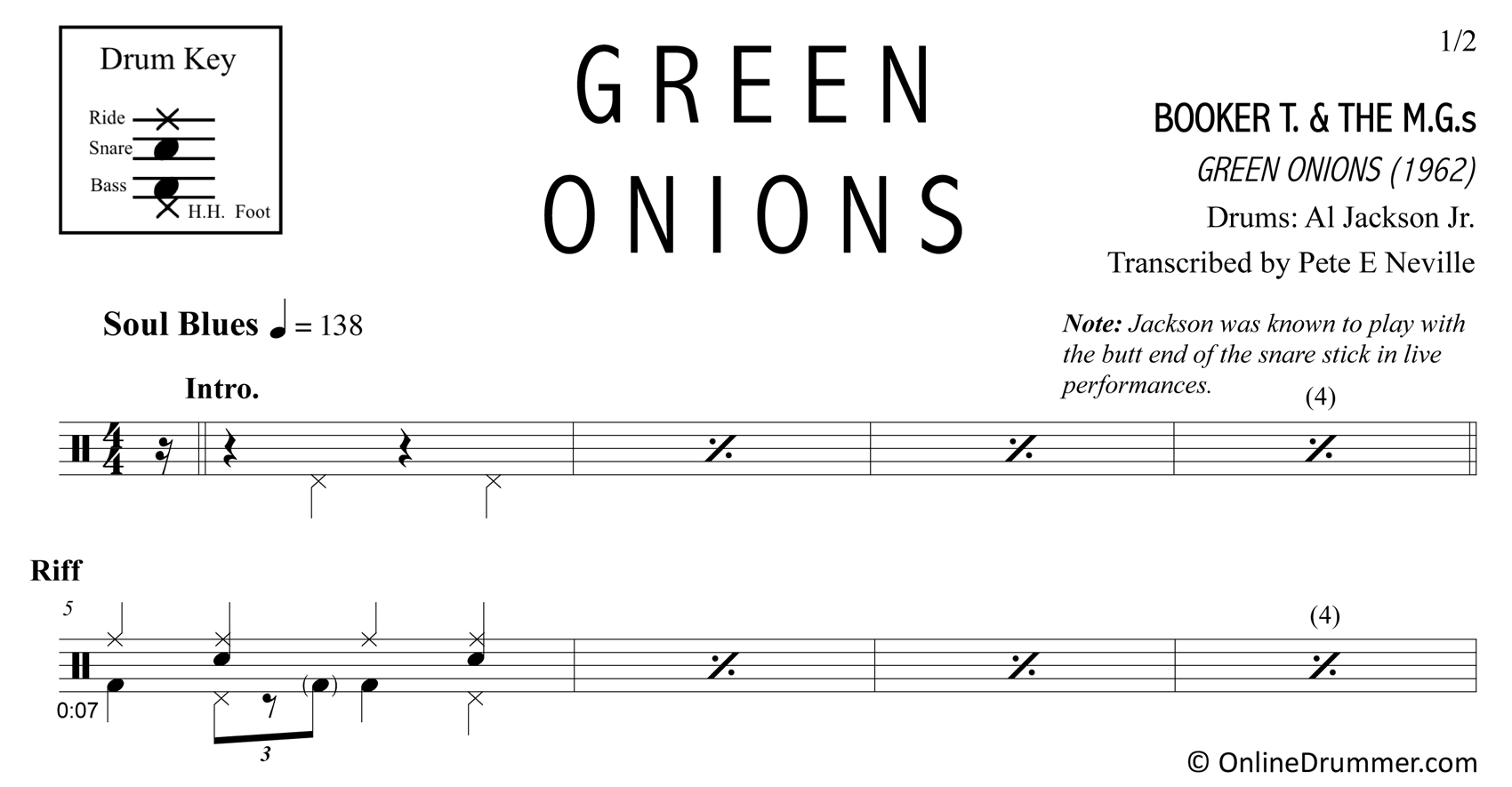 Green Onions - Booker T. & The M.G.S. - Drum Sheet Music