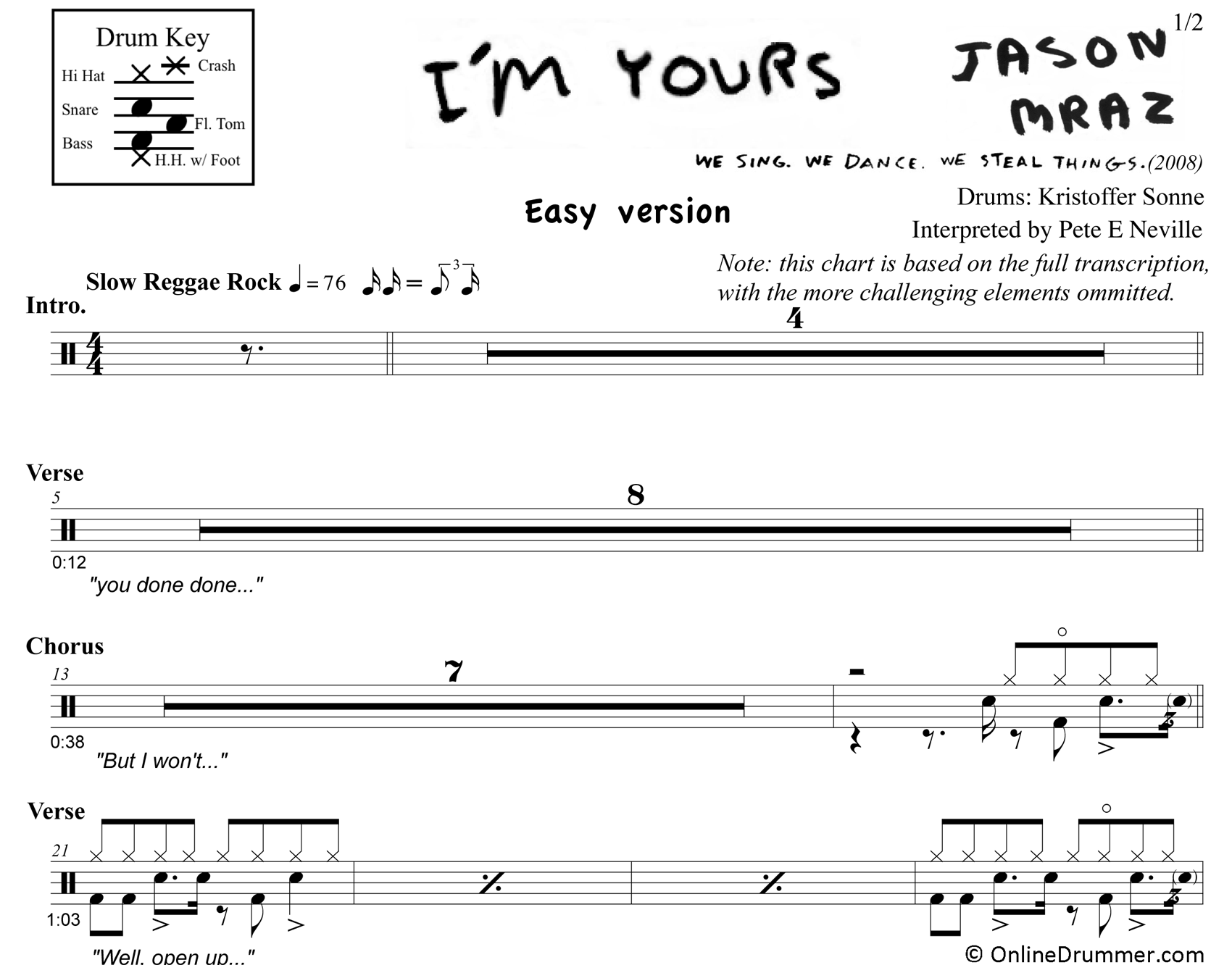 I'm Yours - Drums - Simplified Version