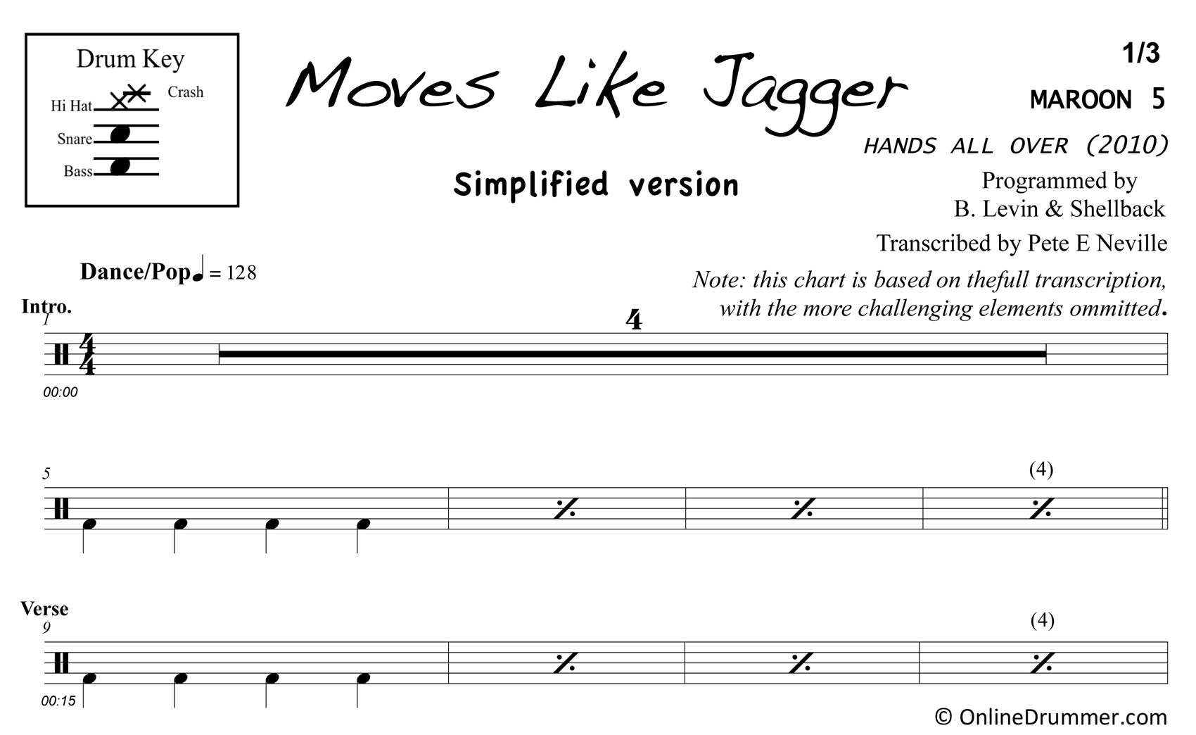 Moves Like Jagger - Drums - Simplified