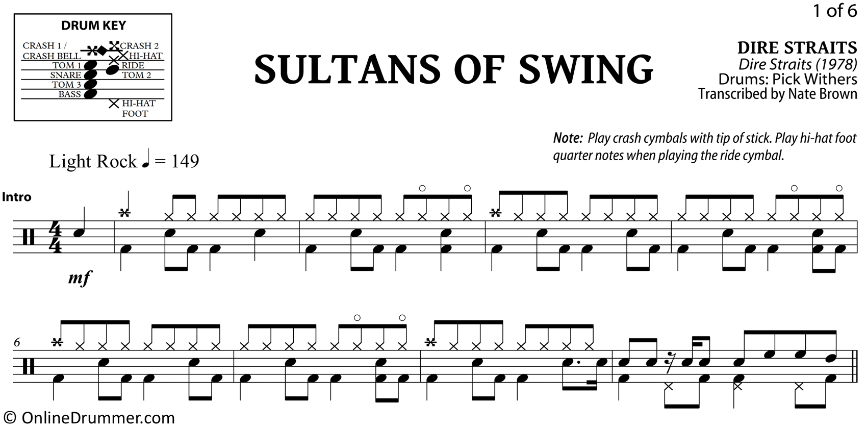 Sultans of Swing - Dire Straits - Drum Sheet Music