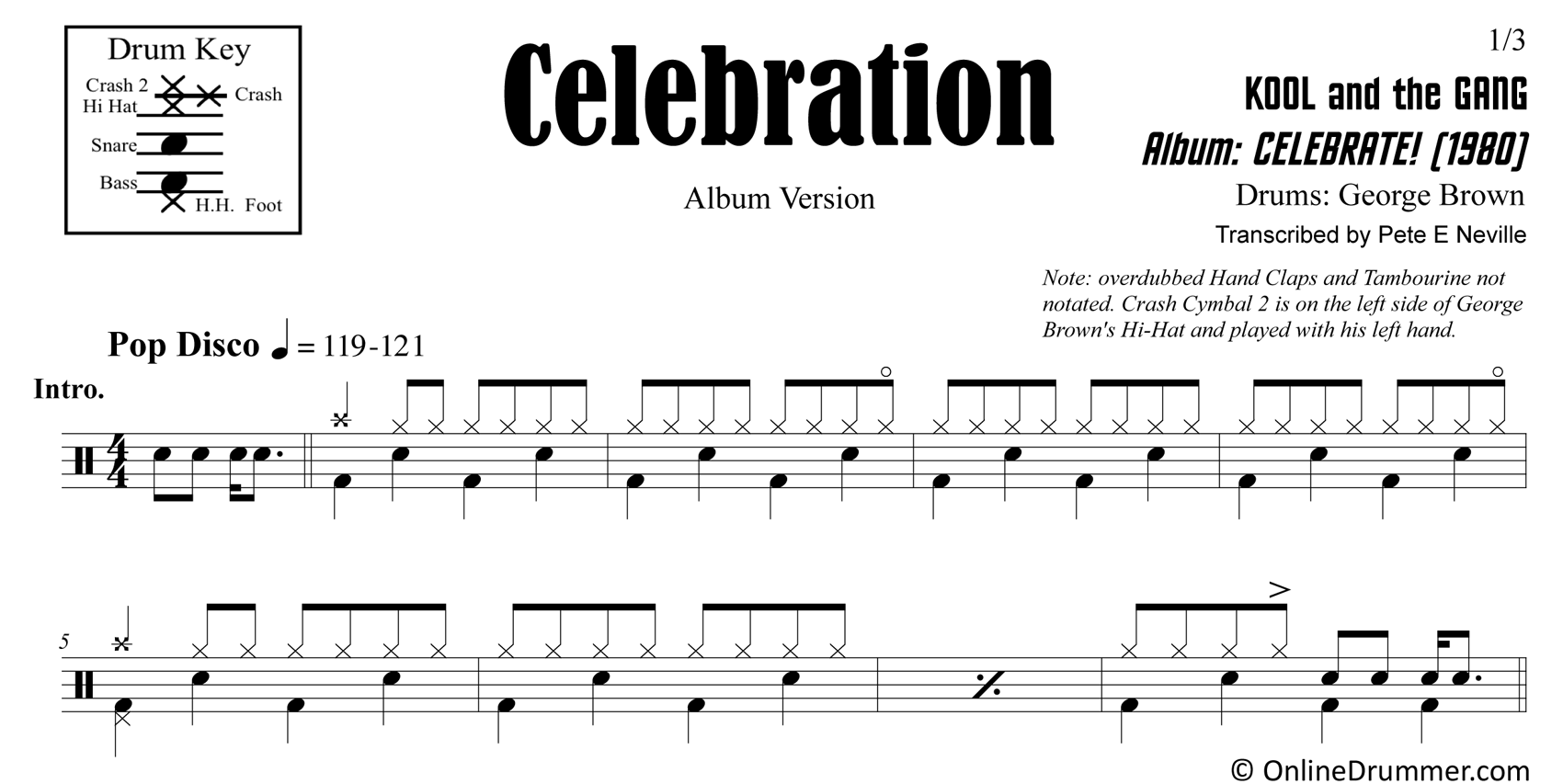 Celebration - Kool and the Gang - Drum Sheet Music