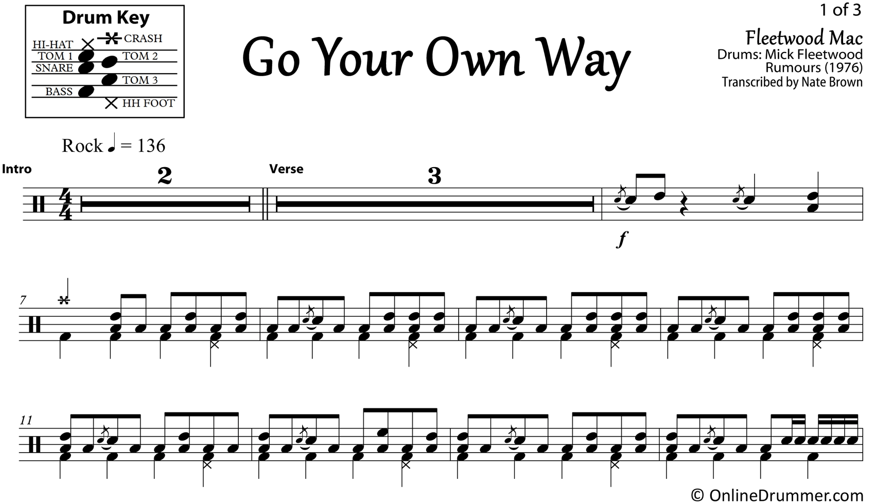 Go Your Own Way - Fleetwood Mac - Drum Sheet Music