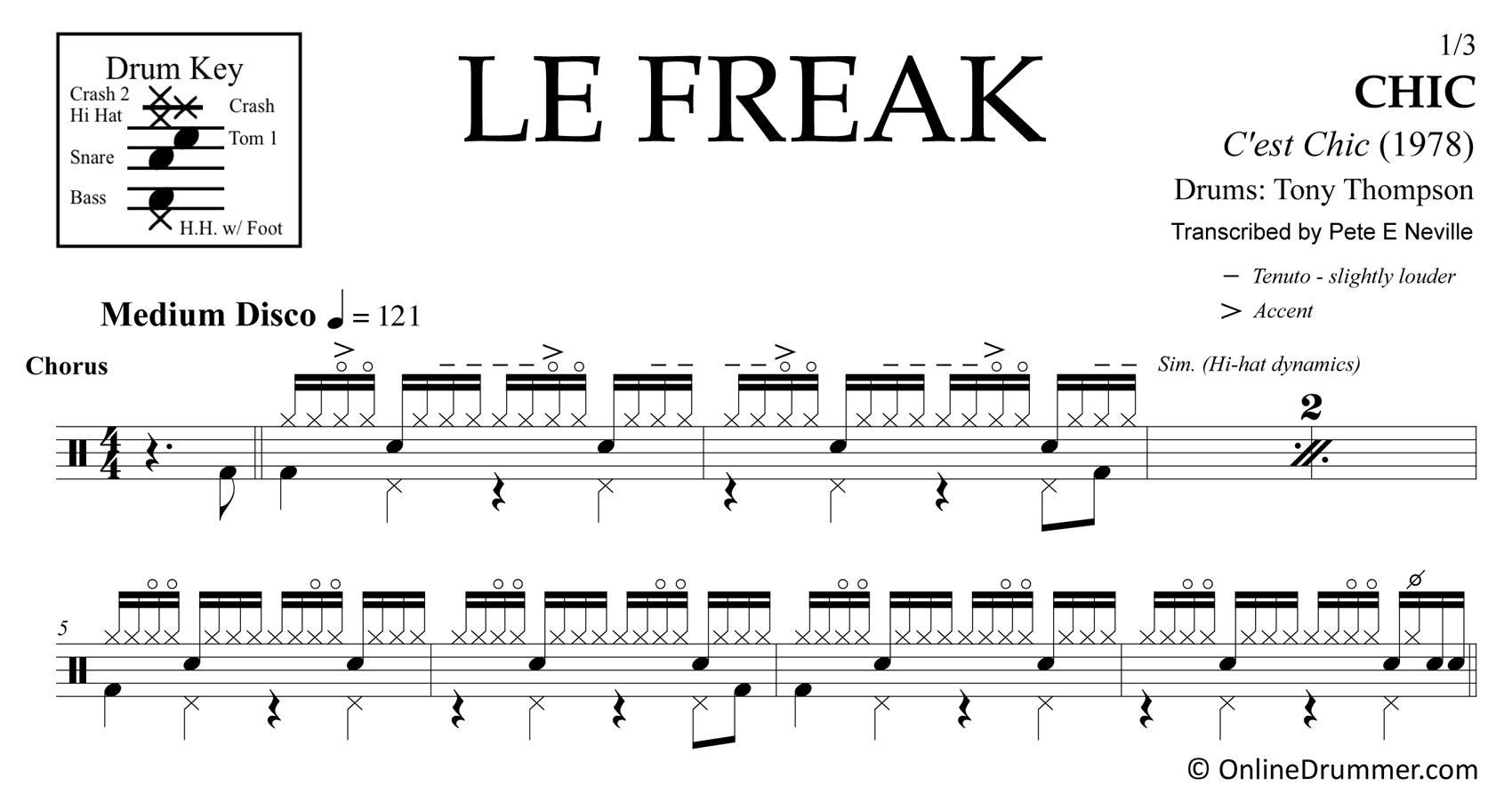 Le Freak - Chic - Drum Sheet Music